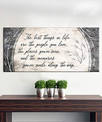 Sense of Art | The Best Things in Life are The People You Love Quote | Wood Framed Canvas | Ready to Hang | Family Signs For Home Decor (Brown, 42x19)