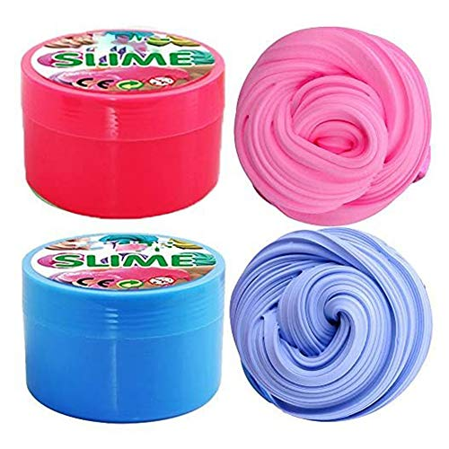 iRunning 2 Pack Puff Slime,7 OZ Soft Floam Puff Slime Putty Stress Relief Fidget Toy for Kids and Adults (Pink,Blue)