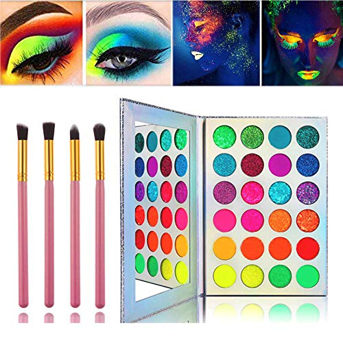 Kalolary Neon Bunte Lidschatten-Palette, UV Glow Blacklight Matte und Sparkling Eyeshadow Glows In The Dark, 24 Farben Hochpigmentiertes Make-up-Kit mit 4 Rosa Pinsel