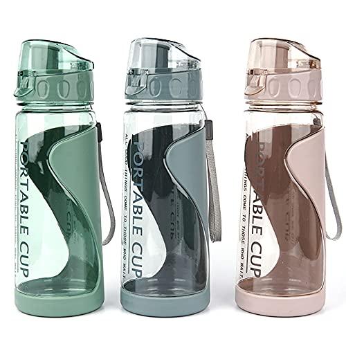 Botella de agua deportiva portátil a prueba de fugas Botella de agua de plástico no tóxica sin BPA Adecuado para gimnasio, ciclismo al aire libre, escuela y oficina, 570 ml (rosa)
