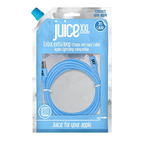 Juice Apple iPhone 11, Pro, iPhone X, Xr, iPhone 8, 7, 6, SE, iPad Lightning Charge and Sync Cable, 3M, Aqua