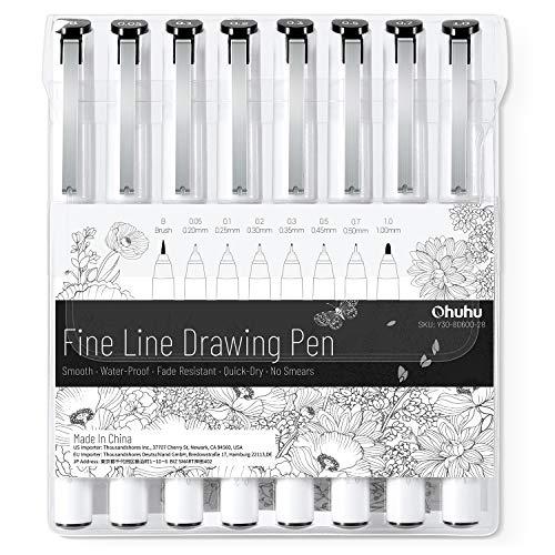 Fineliner Stift, Ohuhu 8er-Pack Ultra-Zeichenstifte, 8 verschiedene Spitzengrößen, 7 Marker mit feiner Spitze & ein Pinsel, schwarze Linienstifte mit feiner Tinte zum Zeichnen von Details