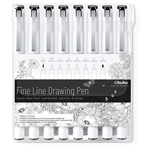 Fineliner Drawing Pen, Ohuhu Set of 8 Pack Ultra Fine Line Drawing Markers, 8 Assorted Tip Sizes, 7...