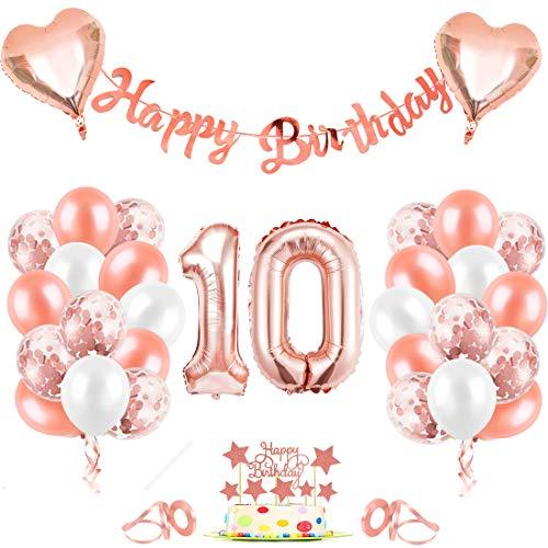 10er Cumpleaños Globos, Decoración de cumpleaños 10 en Oro Rosa, Cumpleaños 10 Año Globos Niñas, Feliz Cumpleaños Decoración Globos 10 Años, Globos de Confeti y Globos de Aluminio para niñas y Mujeres