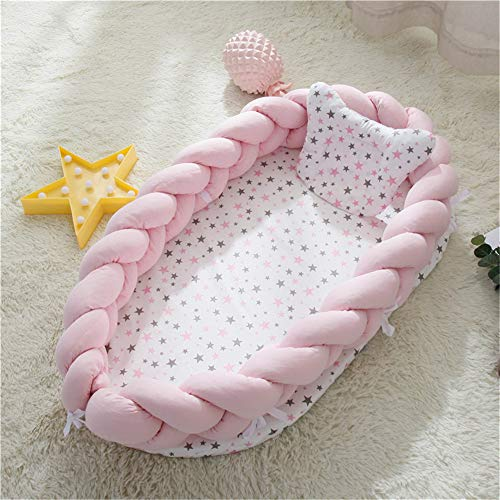 Abreeze Baby Lounger for Newborn -Light Pink Baby Lounger - Braided Knot Crib Co-Sleeping Baby Bed - 100% Cotton Portable Crib for Bedroom/Travel/Camping 0-24 Month