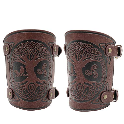 Medieval Bracer - Leather Gauntlet Wristband - Wrist Guard Cosplay - Leather Bracers for Men Arm Armor Cuff 2 Pcs