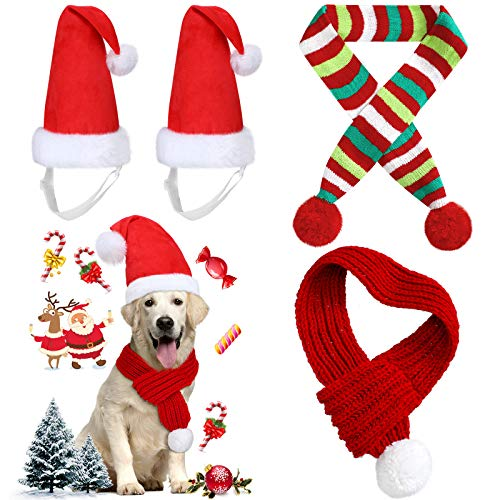 Frienda 4 Pieces Christmas Dog Scarf with Large Santa Hat 2 Adjustable Christmas Pet Hat and 2 Pet...