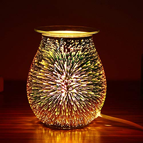 Ourleeme Aroma Glass Aroma Lamp with 3d Fireworks - Electric Wax Melt Oil Burner 3d Patterns Glass Cover Wax Warmer Romantic Atmosphere for Decoration & Bedroom & Home - Square (C)