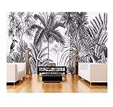 Libjia Papel Pintado Europeo Vintage Blanco Y Negro Coot Tufts Jungle Mural Tv Pared De Fondo Mural 3D