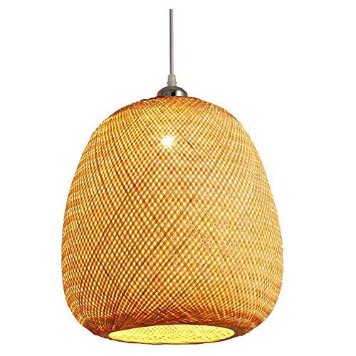 HSLJ1 Luz pendiente Zen antiguo, simple nórdica de bambú de techo lámpara DIY tejido a mano rota Suspensión linterna creativa de bambú natural de la sala Dormitorio Cocina Isla Araña