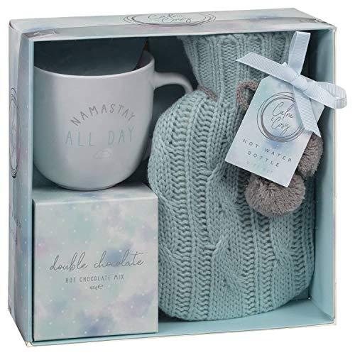 Gemütlicher heißer Schokoladenbecher und Mini-heißes Winterwasserflaschen-Geschenkset - Türkis