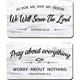 2 Pieces As for Me and My House We Will Serve The Lord Rustic Wood Sign Pray About Everything, Worry About Nothing Bible Verse Wall Decor Hanging Sign Art Sign for Bedroom Living Room Office
