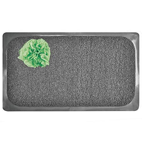 mDesign Alfombra antideslizante para baño – Alfombrilla de ducha con ventosas, suave y acolchada – Antideslizante para bañera o ducha – gris