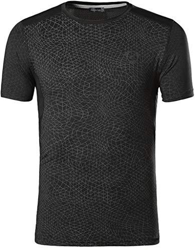 jeansian Hombre Camisetas Deportivas Wicking Quick Dry tee T-Shirt Sport Tops LSL185 Black S