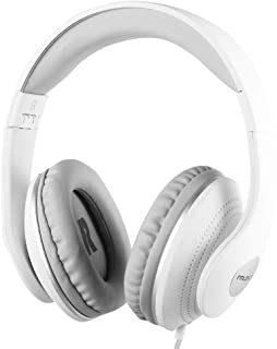 Active Noise Cancelling Headphones Wired, ANC Over Ear with Mic, Sound Cancelling Headphones Foldable Lightweight, Deep Bass Headset 20 Hours for Travel and Office Phone - White from FMLOVES
