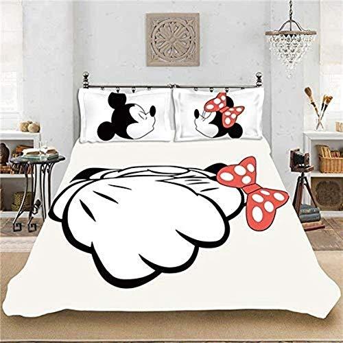 QWAS Mickey Mouse - Funda de edredón para mujer, diseño de dibujos animados de Disney, microfibra, fácil de limpiar, traje de tres piezas (A01,220 x 240 cm + 80 x 80 cm x 2)