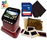 Wolverine F2D Saturn Digital Film & Slide Scanner - Converts 120 Medium Format, 127 Film, Microfiche, 35mm Negatives & Slides to Digital JPEG - 4.3' LCD w/HDMI Output, 16GB SD Card & Z-Cloth (Red)