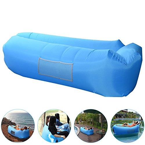 AngLink Luftsofa Wasserdichtes Aufblasbares Sofa Air Lounger mit 2 Lufteinlass Laybag Outdoor-Sofa mit Tragebeutel für Camping-Stuhl, Park, Strand, Hinterhof - (2. Generation) Kissenentwurf