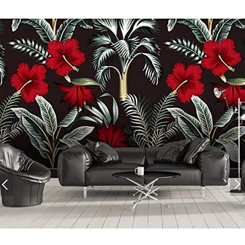 Tropische rode bloemen muur papieren voor muren 3 D muurschildering, behang muur muurschilderingen slaapkamer restaurant achtergrond bloem behang 280 cm (B) x 180 cm (H)