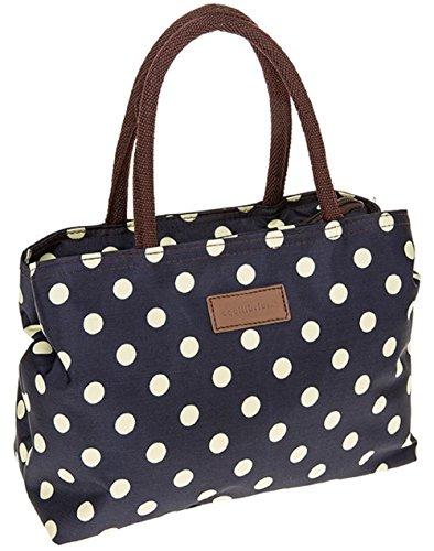 Equilibrium Handtasche, gepunktet, Marineblau / cremefarben
