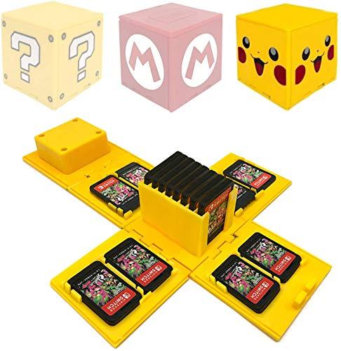 Funda para tarjeta de memoria Nintendo Switch, soporte para tarjetas de videojuegos con 16 ranuras para tarjetas de juego (amarillo-pkchu)