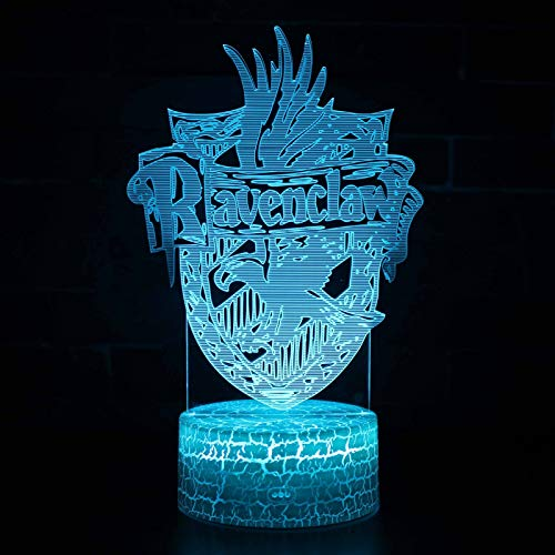 Vitila Harry Potter 3D Led Illusion Light Night Light Mesita De Noche Lámpara De Mesa Cambio Colorido Regalo Creativo, Base De Grieta: Toque De Tres Colores