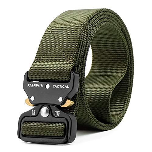 ZORO Men's Nylon Tactical Military Style Webbing Belt with Metal Buckle (Green, Free Size)