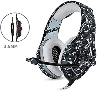 Gaming Headset Gaming Headset, 3.5mm Wired Gaming Headsets Stereo Sound Over-ear Headphone Noise Reduction Music Headphones with Microphone for PC New Xbox PS4 DS PSP (Color : Gray)