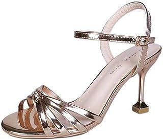 N-X Zapatos de Sandalias Ligeros Casuales para Mujer de Las Señoras Hebilla Delgada Tacón Alto Summer Beach Punta Abierta Tacón Delgado Suela de Goma Sandalias de PU con Sandalias para Mujer