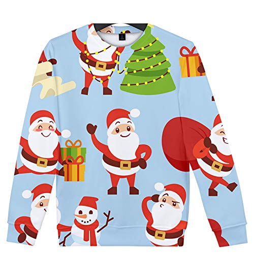 WLZQ Autumn and Winter Mens Christmas Sweater Couple Sweater Christmas Sweatshirt Casual Pullover Sweater Coat Bottoming Shirt