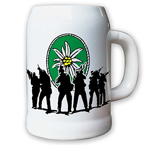 Caraffa/boccale di birra 0,5L–Cacciatore bataillon Cacciatore bataillon gebjgbtl Alpi montagne Edelweiss Germania militare stemma distintivo # 9195