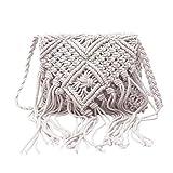 Women Shoulder Straw Bag Handmade Cotton Rope Hollow Out Woven Tassel Messenger Crossbody Bags for Women Handbag,WHITE