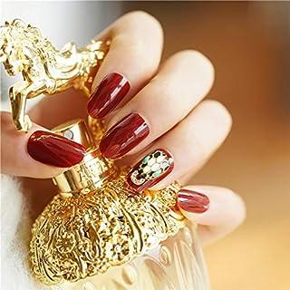 24枚セット ネイルチップ 付け爪 お嫁さんつけ爪 ネイルシール 3D可愛い飾り 爪先金回し 水しいピンク色変化デザインネイルチップ (ワインレッド)