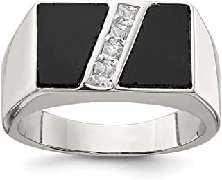 925 Sterling Silver Mens Cubic Zirconia Cz Black Onyx Band Ring Man Fine Jewelry Dad Mens Gift Set