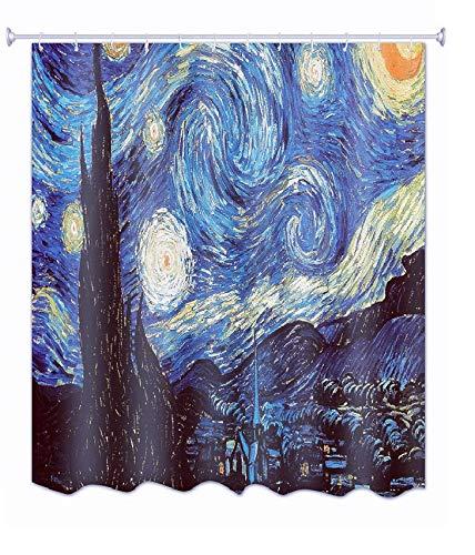 "Get Orange Van Gogh Starry Night Shower Curtain, Thicken Curtain with 12pcs Plastic Hooks , 72"" X 72"" (Starry Night)"