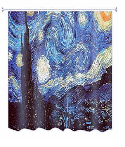 Get Orange Van Gogh Starry Night Waterproof Polyester Fabric Shower Curtain Bathroom Sets Decor