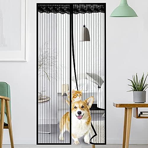 Magnet Fliegengitter Tür ohne Bohren 90X210cm Magnetisch Fliegengitter Tür Insektenschutz, 36 Stück Magnete Automatisch schließen, für Balkontür, Terrassentür, Wohnzimmer