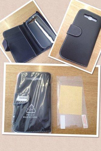 Supergets - Custodia a Libro per Samsung Galaxy S3 in Simil Pelle, Pellicola Proteggi Schermo per S3 e Pennino Inclusi, Colore: Nero