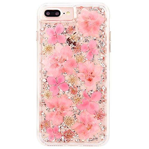 Case-Mate iPhoneケース (iPhone 8 Plus/iPhone 7 Plus/iPhone 6s Plus/iPhone 6 Plus) ハード スマホケース カバー [耐衝撃・ワイヤレス充電対応・二重構造] 透明 キラキラ 押し花 純銀箔 カラット ペタル ピンク