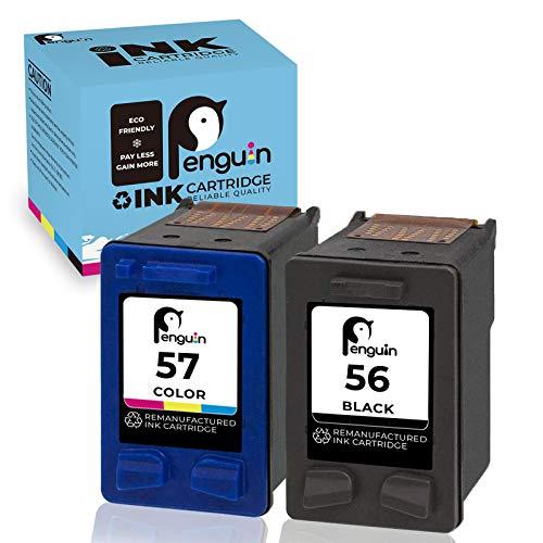 Cartouche d'encre Remanufacturée Penguin pour Remplacer les Cartouches HP 56 57 à utiliser avec les Imprimantes 1210 1215 1216 1315 1350 2105 2110 2175 2210 4212 4215 4255 5150 5550(1 noire,1 couleur)