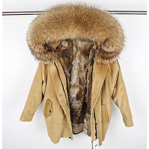JIANYUXIN Mantel Winter Wolle Futter Mantel Mantel Damen Parka Mantel Kord Echt Mantelkragen Warme Lange Parka