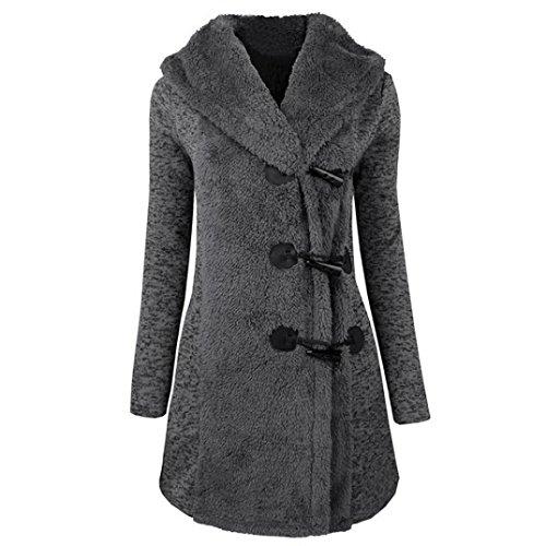 SHOBDW Moda Mujeres Invierno Caliente más Botones Gruesos Abrigo Abrigo Parka Sudadera con Capucha (Gris, S)