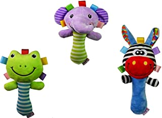 3pcs/set Soft Baby Kid Toy Ring Bell BB Baby Plush Rattle Squeaker Early Educational Doll Rod Cute Cartoon Animal Musical ...