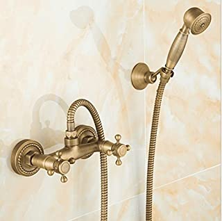 ANNTYE Lavabo Del Fregadero Grifo Moderno Grifo Antiguo Conjunto de ducha retro de agua fría y caliente de Latón de palanca únicaGrifos de lavabo para baño Cocina Aseo