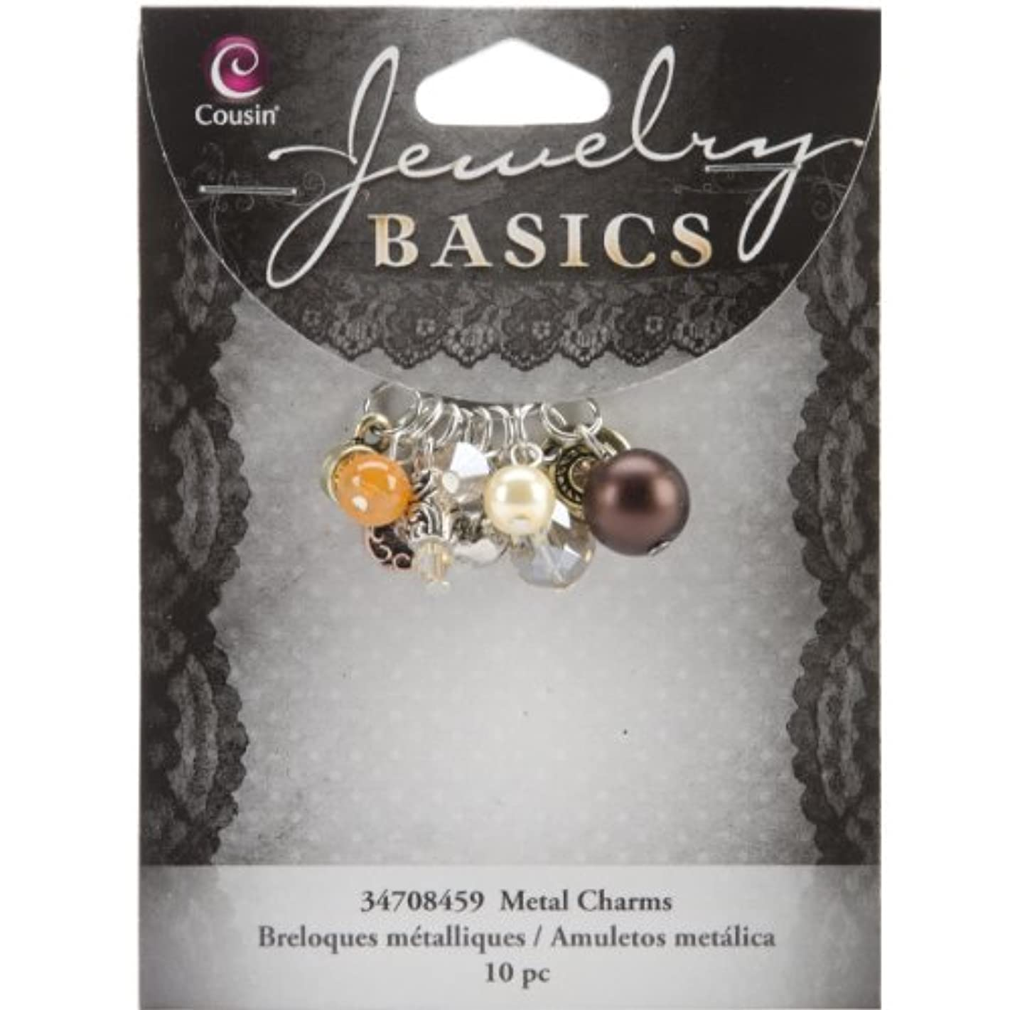 Cousin Jewelry Basics 10-Piece Glass/Metal Bead Cluster Brown