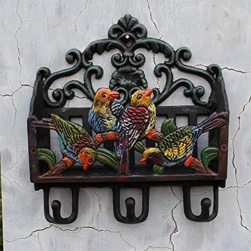 ODDO Ganchos de Cesta de Almacenamiento de Hierro Fundido Retro Europeo Gancho de decoración de jardín Ganchos de Cuatro pájaros