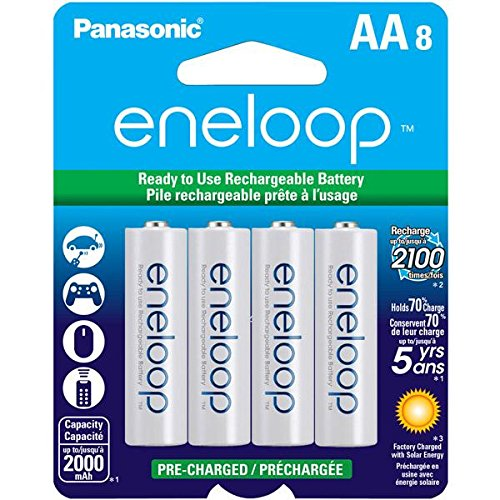 Our #2 Pick is the Panasonic Eneloop AA Pre-Charged Rechargeable Batteries
