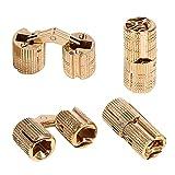 Bisagra oculta invisible, cobre, para puerta de madera, 4 unidades(10mm)