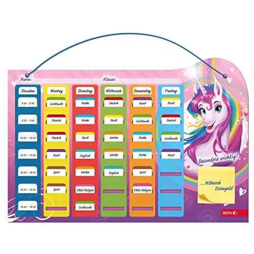 Klipp&Klar Stundenplan Steck Fix - Einhornportrait , A3 - ideal für Mädchen in der Grundschule, Einhorn - Unicorn