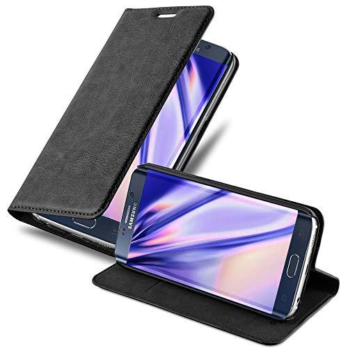 Cadorabo Hülle für Samsung Galaxy S6 Edge in Nacht SCHWARZ - Handyhülle mit Magnetverschluss, Standfunktion und Kartenfach - Case Cover Schutzhülle Etui Tasche Book Klapp Style
